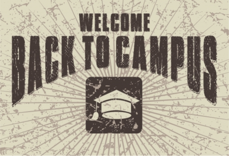 intermediate: welcome back to campus, vector illustration