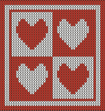 Seamless pattern with knit hearts  Illustration