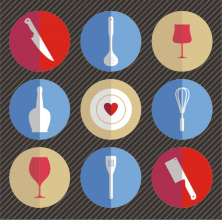 Set of kitchen utensils icon in flat design style  Vector