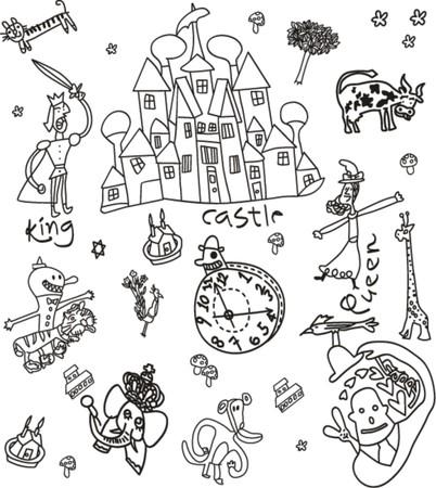 drawbridge: Castle illustration doodle vector