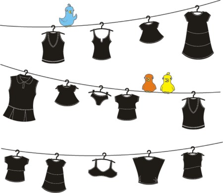 bird and clothes on washing line