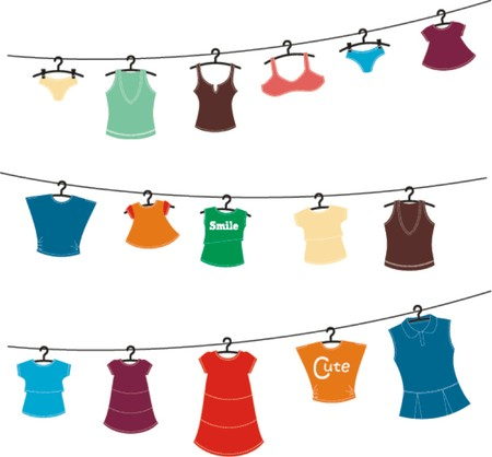 women clothes on washing line  Vector