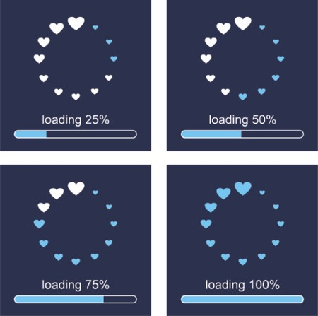 Loading love,please wait     Vector