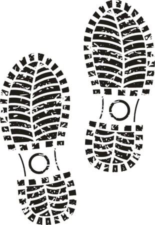 Black shoe print Vetores