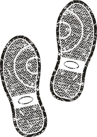 indent: Black shoe print  Illustration
