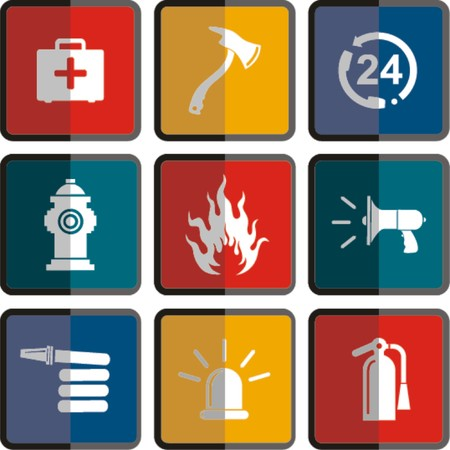 sizzling: firefighter icon set in flat style  Illustration