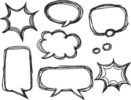 A collection of comic speech bubbles  doodle art style