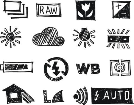 evaluative: 16 icon set, Photography doodle art style  Illustration