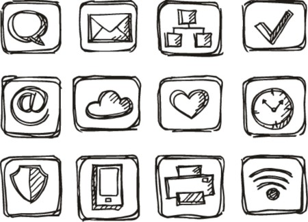 sketch Phone icons on white background  Vector
