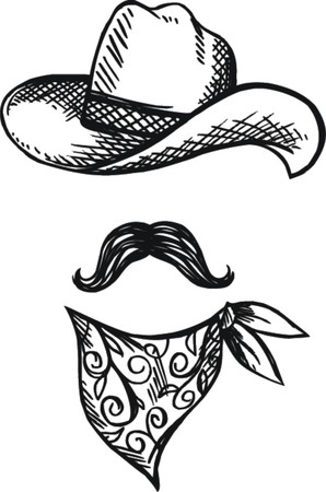 Doodle Hat,scarf and mustache, cowboy style  Illustration