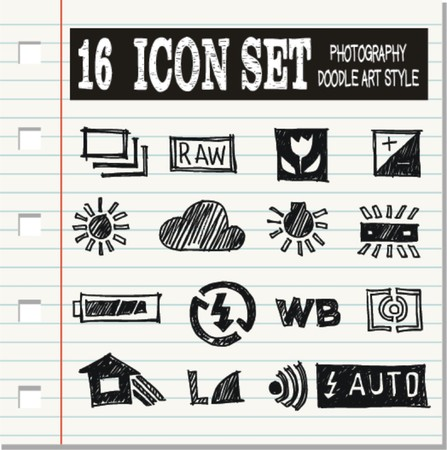 weighted: 16 icon set, Photography doodle art style  Illustration