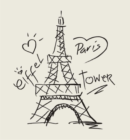 sketch i love paris with eiffel tower  Vector