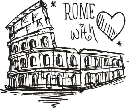 roma antigua: Sketch Coliseo de Roma con amor Vectores