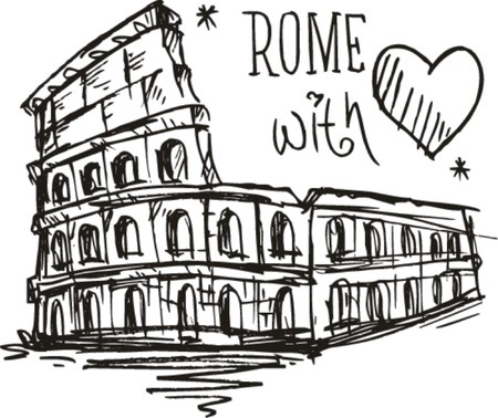 Sketch Colosseum Rome with love  Vector