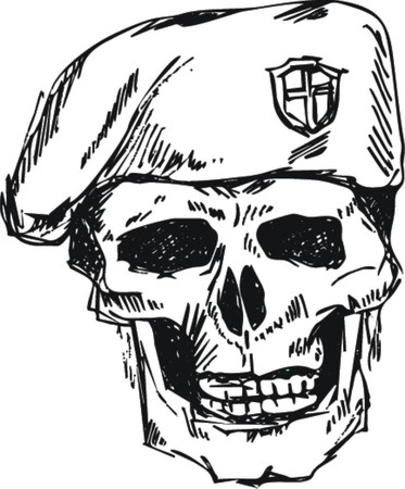 sketch: soldier skull in beret with doodle style