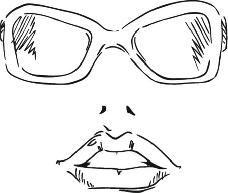 Sunglasses and lips sketch illustration