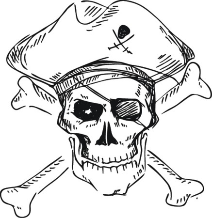 cross bones: Cr�neo del pirata con el sombrero y los huesos cruzados, el estilo de dibujo