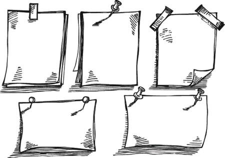 pushpins: Papeles de nota del bosquejo con los pasadores Vectores