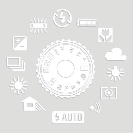 evaluative: Flat set Photography icons