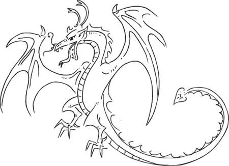 dragon tribal: de tatouage de dragon croquis, illustration vectorielle