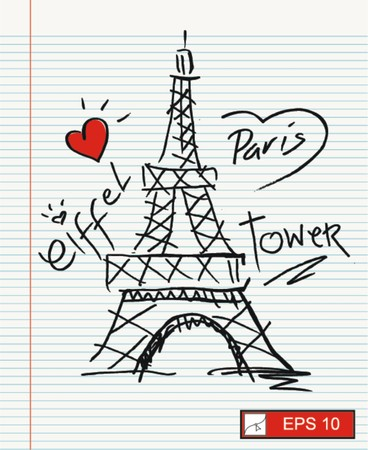 tower: sketch i love paris with eiffel tower
