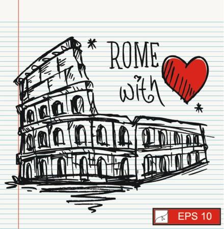 sketch Rome colesseum  Vector