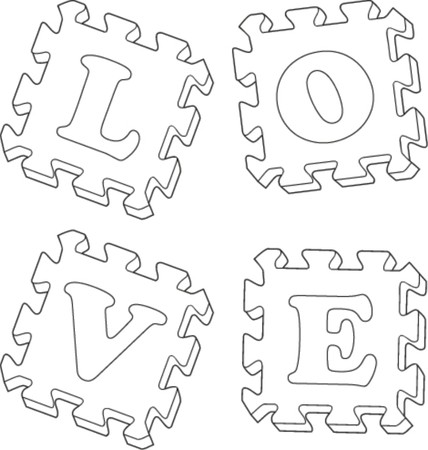 puzzle with the word love  Vector