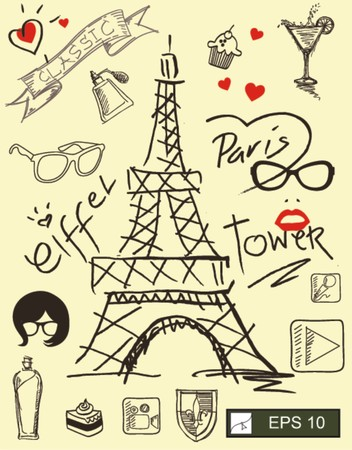 i love paris with eiffel tower  Vector