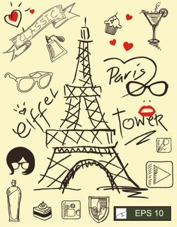 i love paris with eiffel tower  Vector