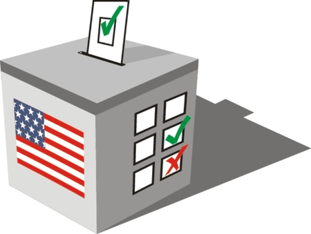 ballot papers: Ballot box . Illustration on white Illustration