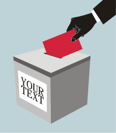 Hand with ballot and box , vector illustration