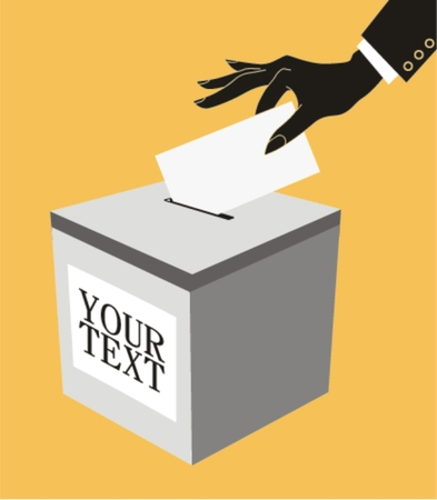 designate: Hand with ballot and box , vector illustration