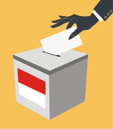 voter: Voting concept in flat style - hand putting paper in the ballot box