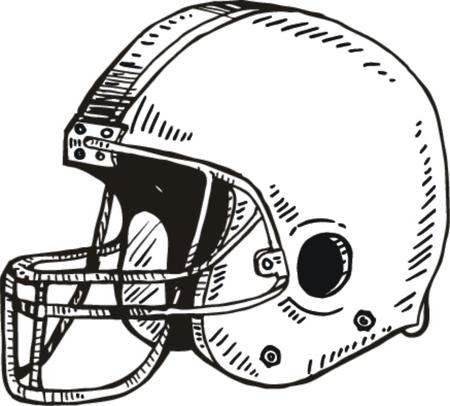 Sketch of American football helmet, vector illustration