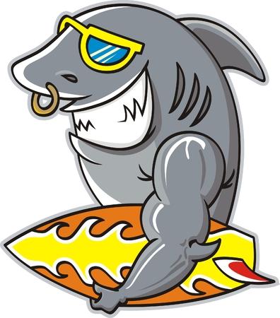 great danger: Surf of Sharks ,vector illustration Illustration