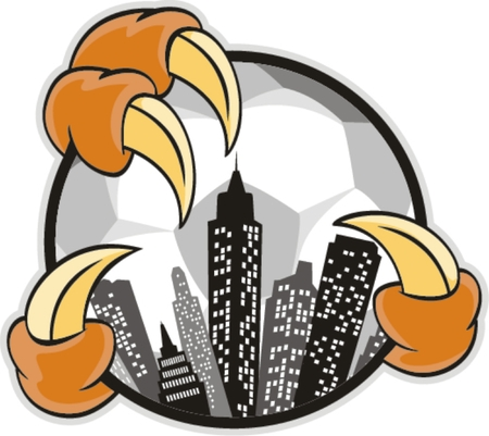 curve claw: Soccer City with claw , vector sign