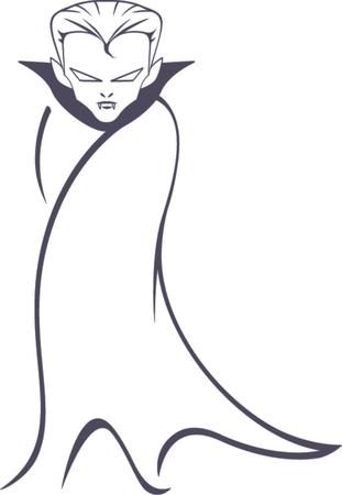 Ilustración Vectorial De Vampiro De Dibujos Animados De Pie Con Su ...