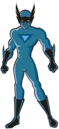 tough man: superhero red figure standing Illustration