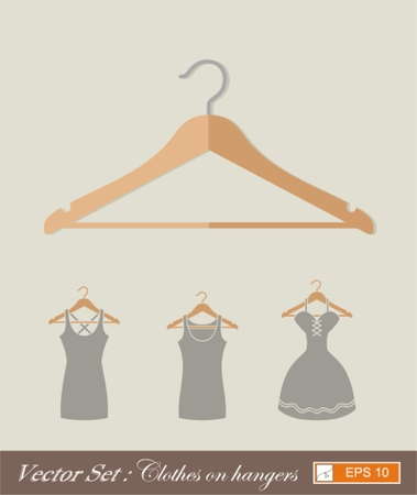 spring coat: hanger new design , vector flat style