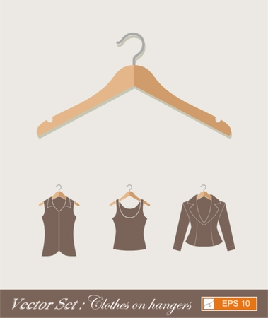 spring coat: hanger new design , vector flat style