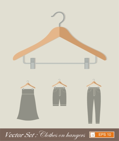 hangers: vector set ,clothes on hangers , flat style