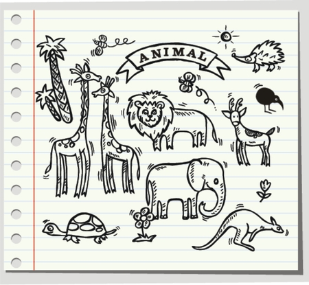 animal time: Doodle animal, happy time vector illustration