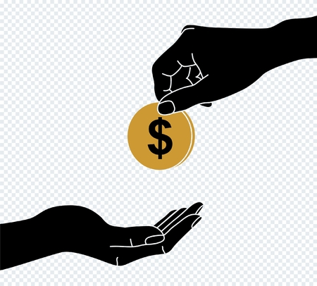Two cartoon businessman hands, giving money. Illustration in flat design on white background.