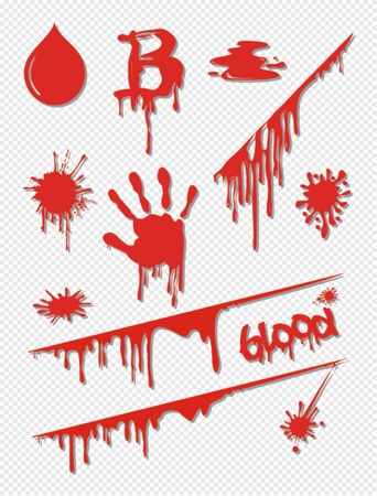 Different blood drops,vector dripping blood, Vector illustration Illustration