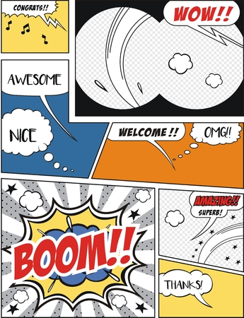 clouds: Comic speech bubbles and comic strip background vector illustration