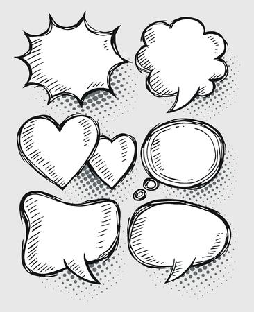A set of comic speech bubbles and elements
