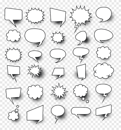 A set of comic speech bubbles and elements with halftone shadows.