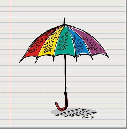 Sketch of an umbrella, vector illustration
