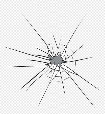 Broken glass effect. Hole in the broken glass .Vector illustration. Illustration