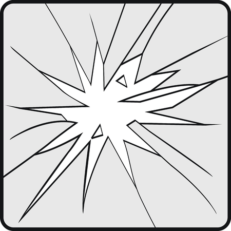 Broken glass effect. Hole in the broken glass .Vector illustration. Illustration